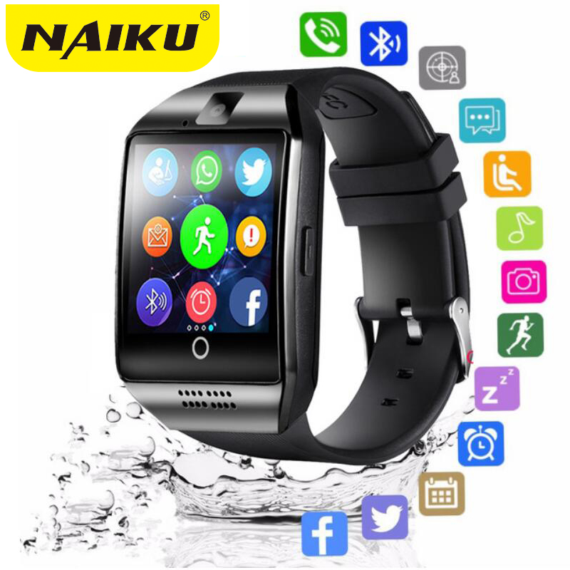 Bluetooth relógio inteligente masculino q18 com câmera facebook whatsapp twitter sincronização sms smartwatch suporte sim tf cartão para ios android