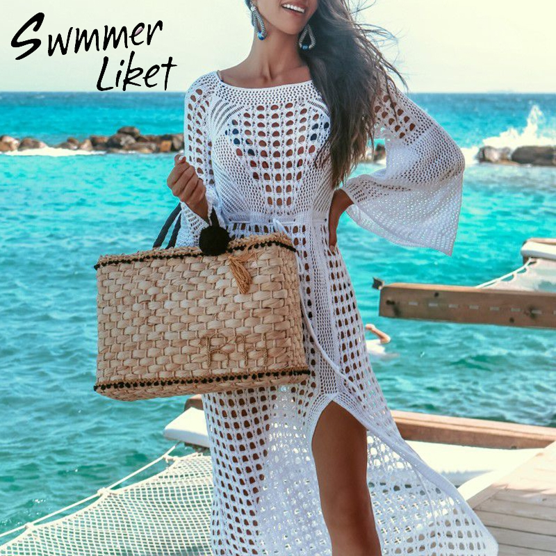 Crochet cover-ups Sexy white beach sarong bikini cover up Long sleeve beach dress 2019 new Hollow out tunics for beach kaftan