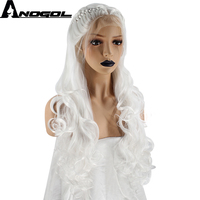 Anogol High Temperature Fiber Perruque Lolita Long Body Wave Hair Wigs White Braided Synthetic Lace Front Wig For Women Costume
