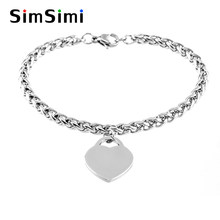 women bracelets Stainless Steel Material 4mm braid Chain heart charm Bracelets bangle female Jewelry gift Good quality(China)