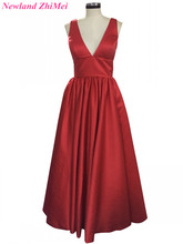 Cheap V Neck Pageant Dresses Sexy Long A Line Prom Dress Hot Red Backless Women Evening