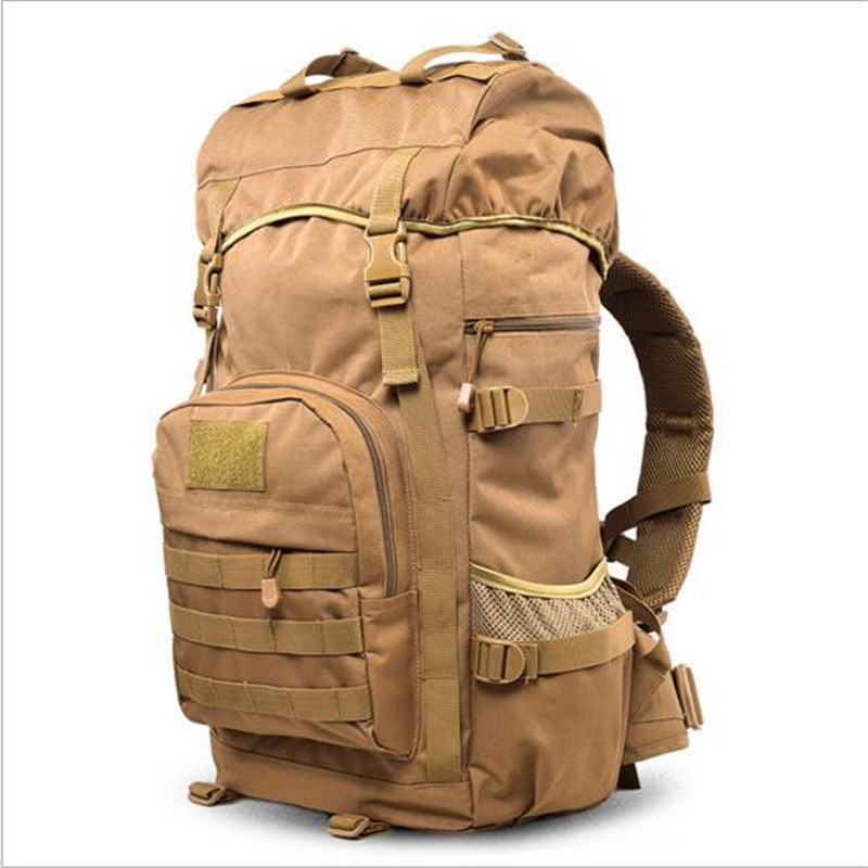 High quality nylon quality bag backpack Male female 50 litres travel bag laptop bag shoulder bag leisure waterproof camouflage high quality military nylon shoulder bag green sand color