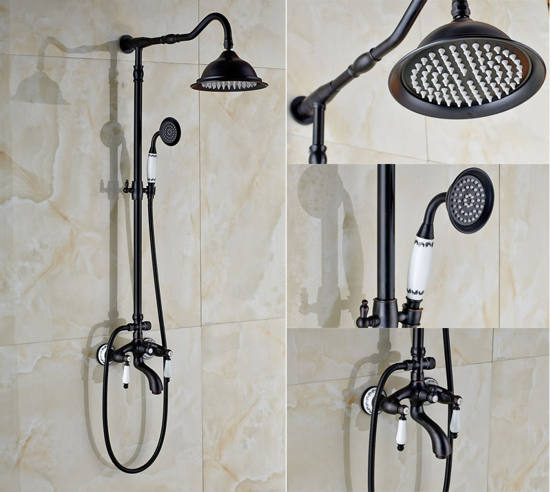 Wall Mount Oil Rubbed Bronze Shower Faucet Single Lever W ...