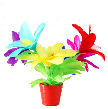 Appearing <font><b>bouquet</b></font> in vase <font><b>deluxe</b></font>/cane to flower <font><b>feather</b></font> flower from empty pot flower magic tricks magic props