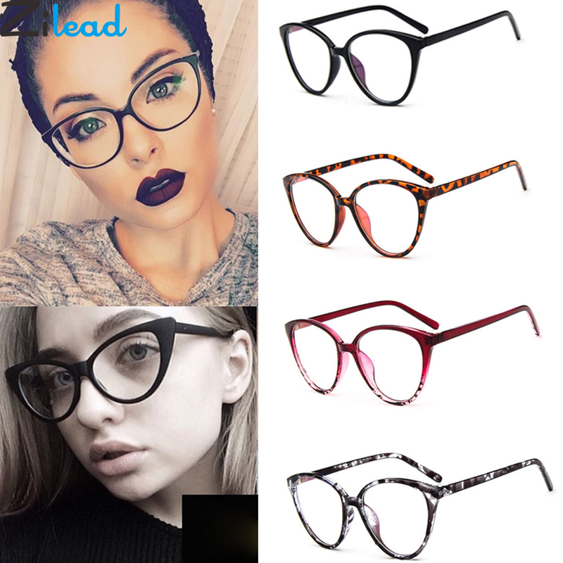 Zilead Retro Cat Eye Clear Lens Spectacle Frame Brand Women Blue-ray Optical Eyewear Frame Myopia Lens Frame Plain Glasses