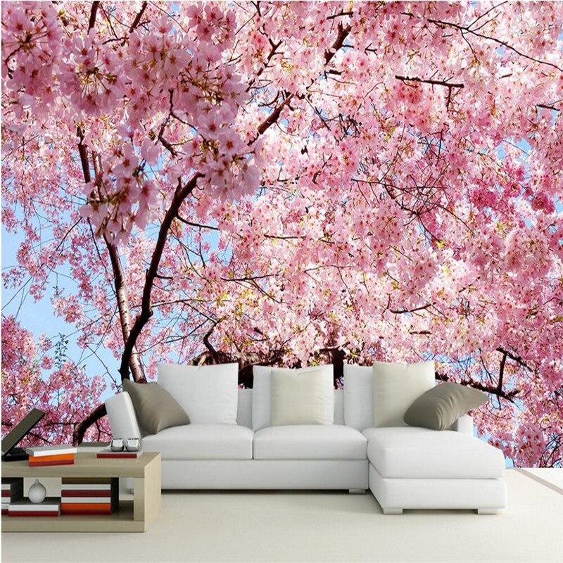 Beibehang custom photo wallpaper 3d 3d stereo for Cherry blossom wallpaper mural
