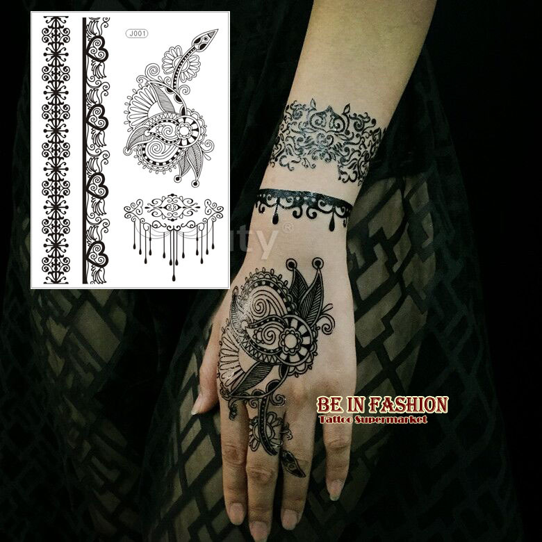 38cb25db9358 1PC Flash Waterproof Tattoo Women Black Henna paste Indian Jewel Lace  Flower Chain Bracelet Temporary Tattoos Sticker hand J011B-in Temporary  Tattoos from ...