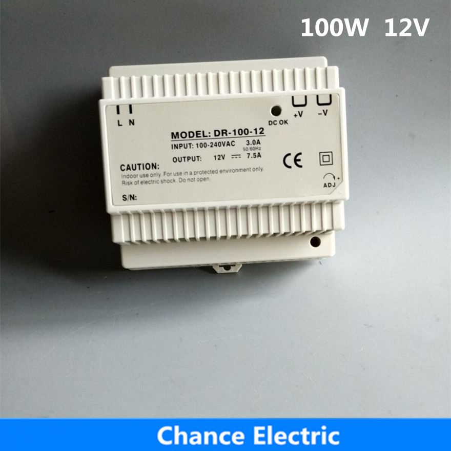 DR 100 12 Din Rail switching Power Supply 100W 12V dc for led driver free shipping