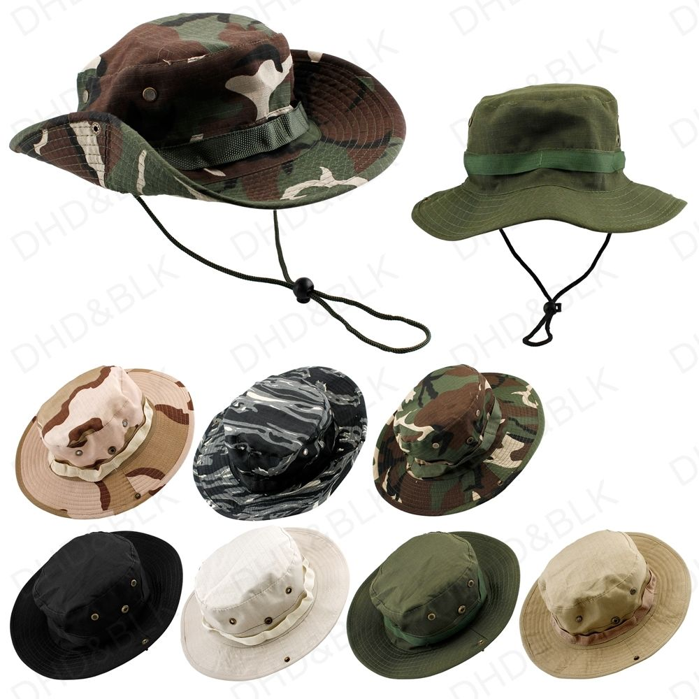 8ab6ec62aa5 Bucket Hat Boonie Hunting Fishing Outdoor Men Cap Washed Cotton NEW W   STRINGS 23 0007-in Fishing Caps from Sports   Entertainment on  Aliexpress.com ...
