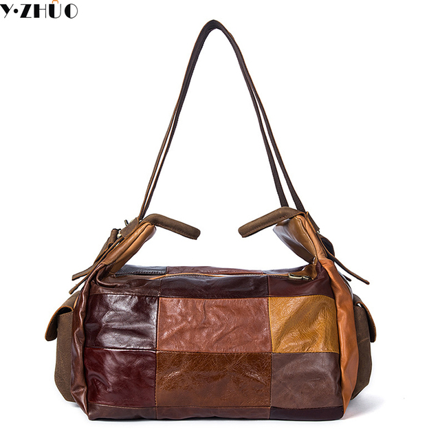 Unique Design Really Cowhide Travel Duffel Bags Genuine Leather Handbags Tote Fashion Patchwork Shoulder Crossbody Male