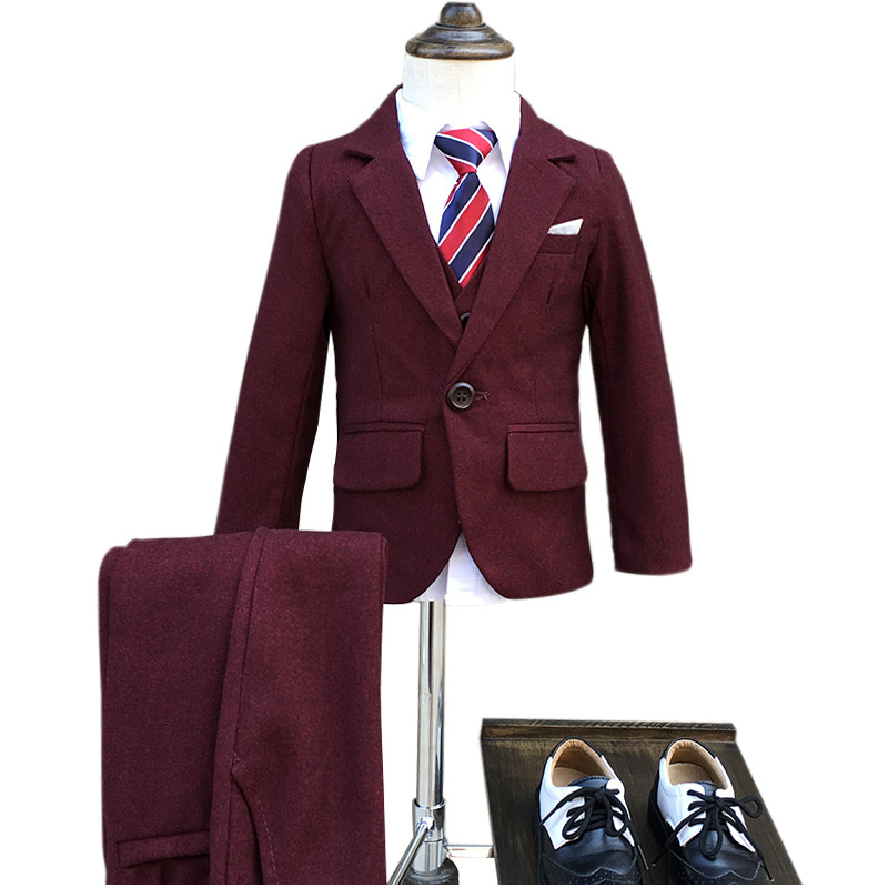 Wine red Boys Blazer 3 pcs/set Wedding Suits for Boy Formal Dress Suit Boys wedding suit Kid Tuxedos Page boy Outfits 3pieces plextone red page 4
