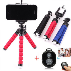 Phone Tripod Holder Flexible Sponge Octopus Tripod Stand Mount or Bluetooth Remote Shutter Selfie Stick Self-timer Bracket