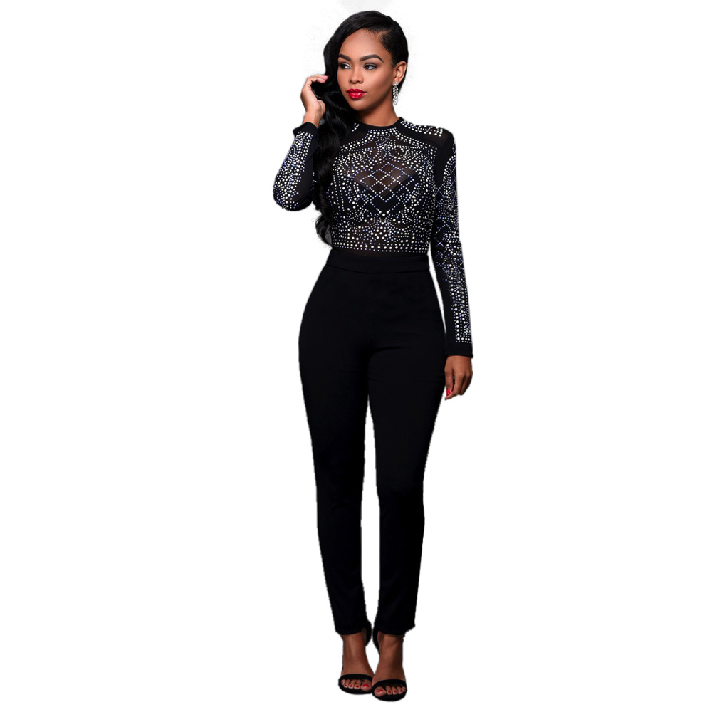 Wendywu Special Design O-Neck Mesh Long Sleeve Solid Black Diamonds Long Jumpsuit for Women