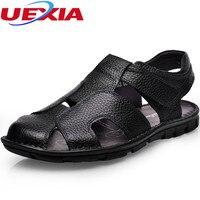 Kwaliteit Eerste Lederen Zapatos Hoge Kwaliteit mannen Zomer Outdoor Strand Toevallige Sandalen Mannen Schoenen slip Flats Haak Lus Sandalias