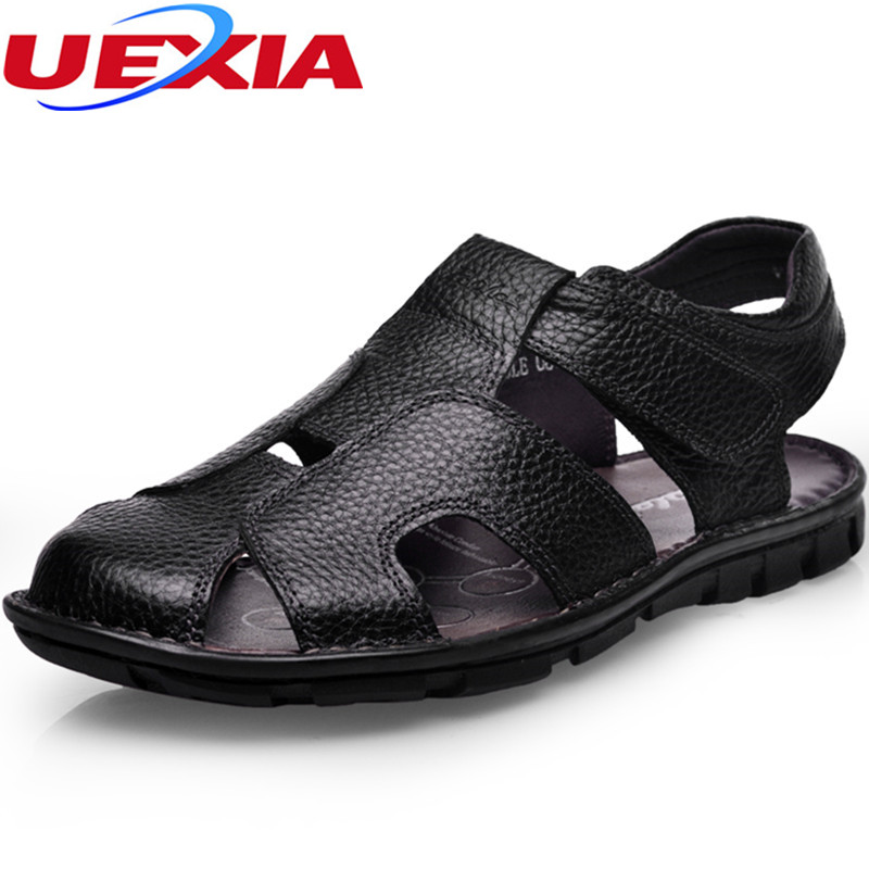 Quality First Leather Zapatos High Quality Mens Summer Outdoor Beach Casual Sandals Men Shoes Slip on Flats Hook Loop Sandalias