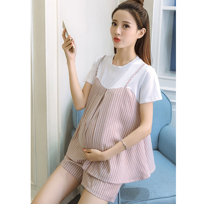 2PC Sets Maternity Tops Abdominal Shorts For Pregnant Women Clothes Casual Striped Pregnancy Clothing Summer Suits Clothing