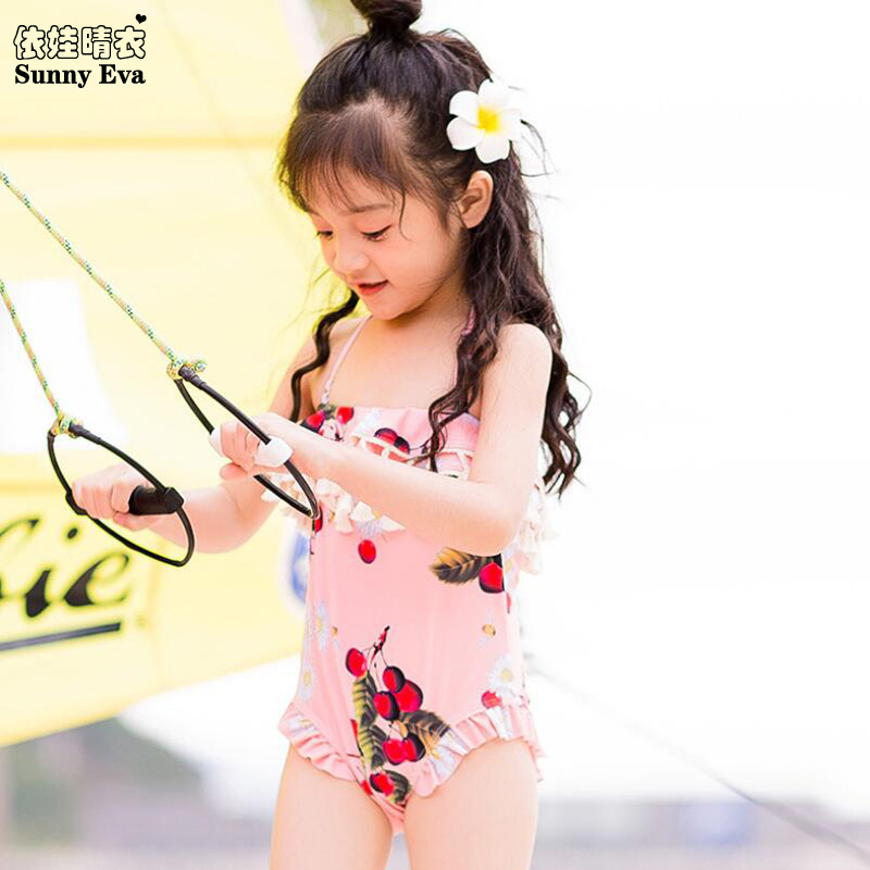 af972cb41b270 Sunny eva strap one-piece bathing suit sexy kids girl swimsuits swimwear  for the pool high waist fashionable swimwear ruffle