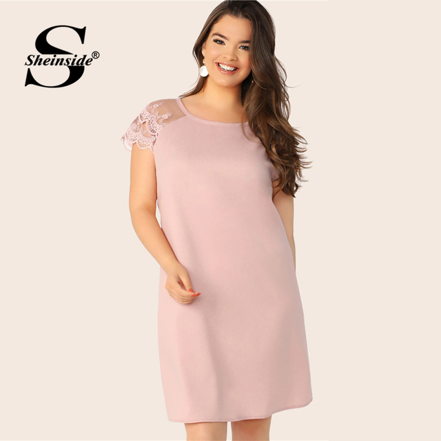 Sheinside Plus Size Casual Layered Contrast Lace Sleeve Dress Women 2019 Summer Pink Straight Dresses Ladies Solid Mini Dress