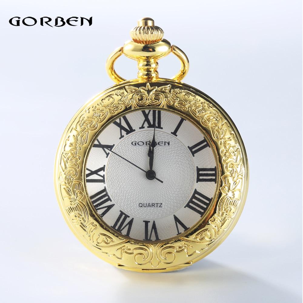 da3bda1a9bf 2016 GORBEN Moda Mulheres Homens Quartz Relógios de Bolso de Ouro Números  Romanos Mostrar Colar Com Cintura Cadeia Relógio De Bolso Presente