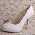 Wedopus MW558 Women Closed Toe High Heel Platform White Lace Wedding Shoes for Bride