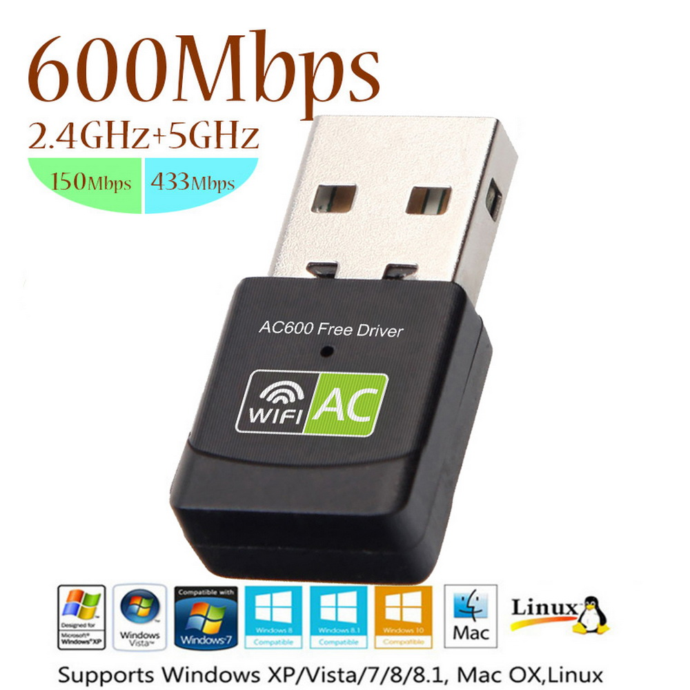 Free Driver 600Mbps USB 2.4+5Ghz MIni Wireless USB Wifi Adapte Receiver Wifi AC Dongle Adapter Network Card For Laptop(China)
