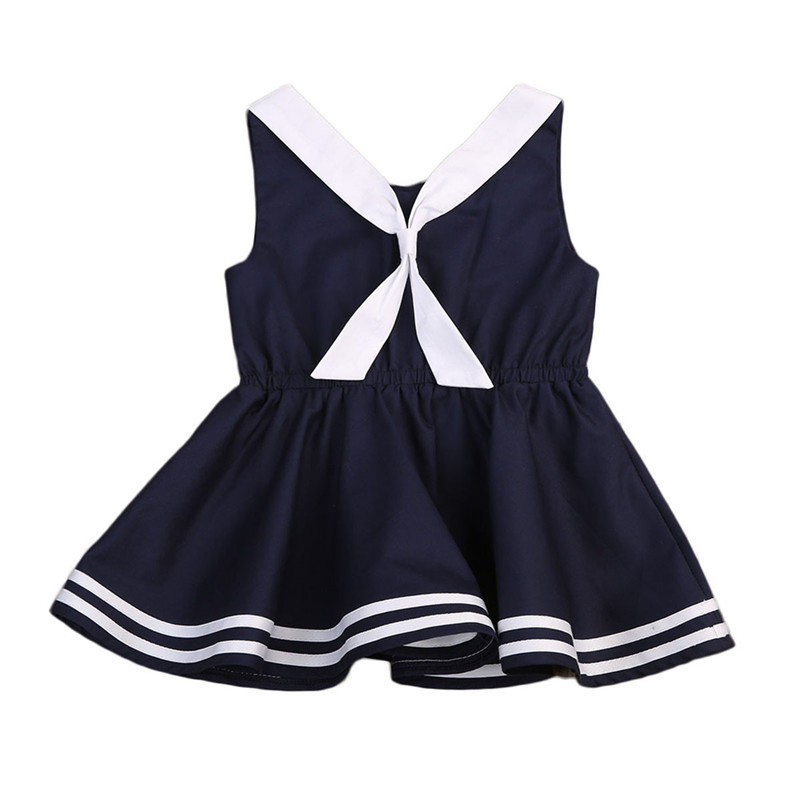 Navy Toddler Dress | New Arriving Adorable Baby Girls Kids Navy Dress Toddler Kid Sleeveless Striped Casual Clothes Knee Length Tutu Dress 0 5 Years