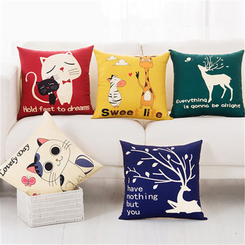 Animals Nordic Deer Five Cats Lovely Giraffe Elephant Dog Throw Pillow Case Cover Cotton Linen Seat Waist Cushion Cover For Sofa