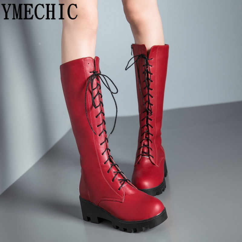YMECHIC 2018 Red Plus Size Lace Up Mid Calf High Motorcycle Boots Women Fashion Cross Tied White Black Chunky Heel Woman Shoes