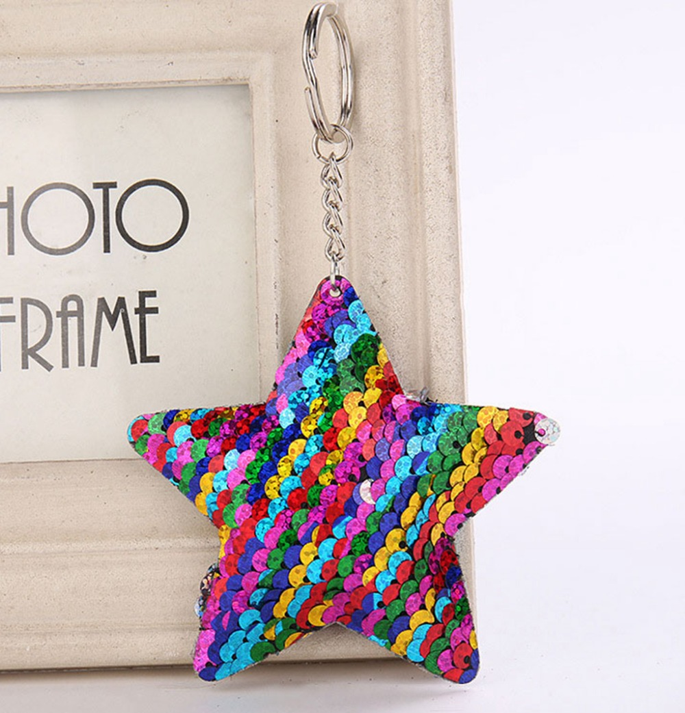 Star Unicorn Cat Keychain Glitter Pompom Sequins Key Chain Gifts for Women Llaveros Mujer Car Bag Accessories Key Ring цены онлайн