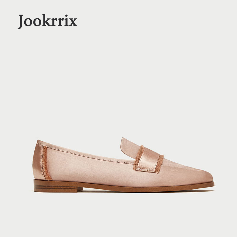 Jookrrix 2018 New Shoes Women Apricot Lady Fashion Brand Casual Satin Flats Embroidered Moccasin Shoes Slip On Loafer Soft Black vintage embroidery women flats chinese floral canvas embroidered shoes national old beijing cloth single dance soft flats