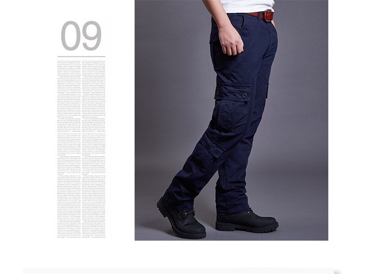 Icpans Winter Tactical Black Cargo Pants Men Loose Fit Military Style Side Pockets Army Black Denim Casual Men Pants Size 40 42 12