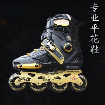 Adult Inline Skates For Men and Women Black Gold skates Professional Flat Flower Single Row Roller Skates