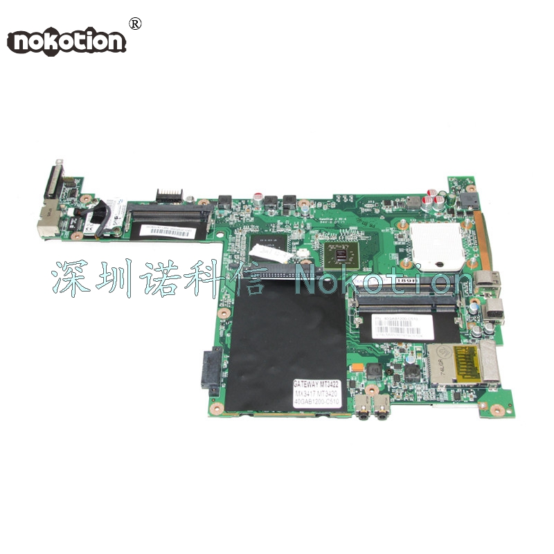 NOKOTION Laptop Motherboard For Gateway MX3417 MT3420 MT3422 40GAB1200-C510 NF-G6100-N-A2 DDR2 Main board Free CPU free shipping 5pcs nf spp 100 n a2 in stock