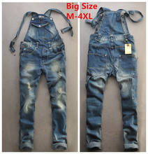 2015 Summer Fashion Casual Men's Cool Ripped Hole Blue Denim Overalls Male Jeans Jumpsuits Suspenders Trousers Playsuits For Man