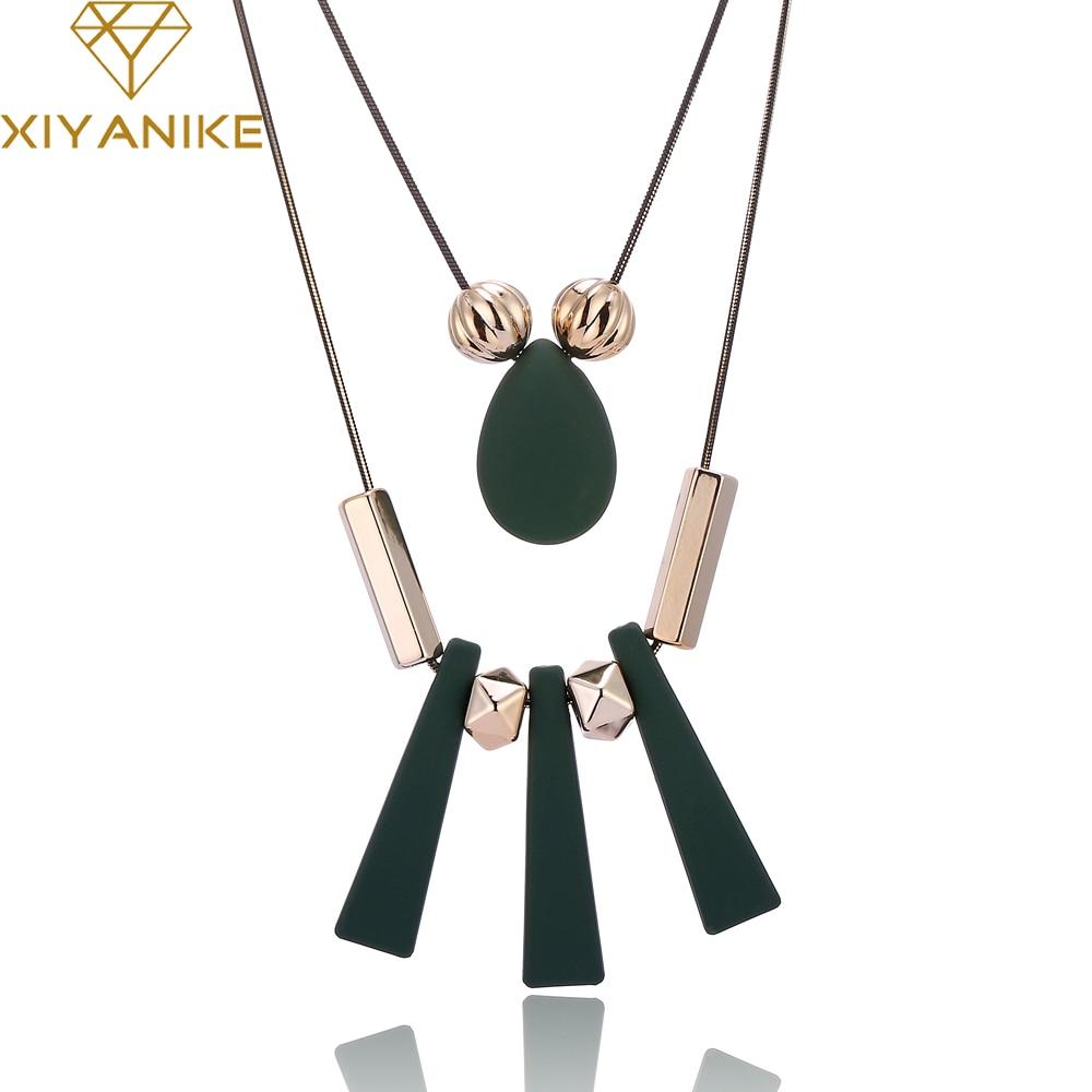 XIYANIKE 2017 Big Brand Hot Sale Fashion Luxury Acrylic Necklace Fashion Choker Jewelry For Women Necklaces & Pendants XY-N147