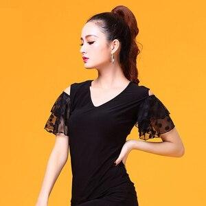 Image 4 - שחור V צוואר קצר שרוול מודרני לטיני בגדי ריקוד למעלה לנשים/נקבה רקדנים, ווג סלוניים תלבושות ביצועים ללבוש YR0303