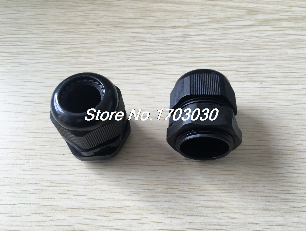 5 Pieces <font><b>M20x1.5</b></font> Waterproof Connector 6-12mm Cable Locknut Stuffing Gland Black image