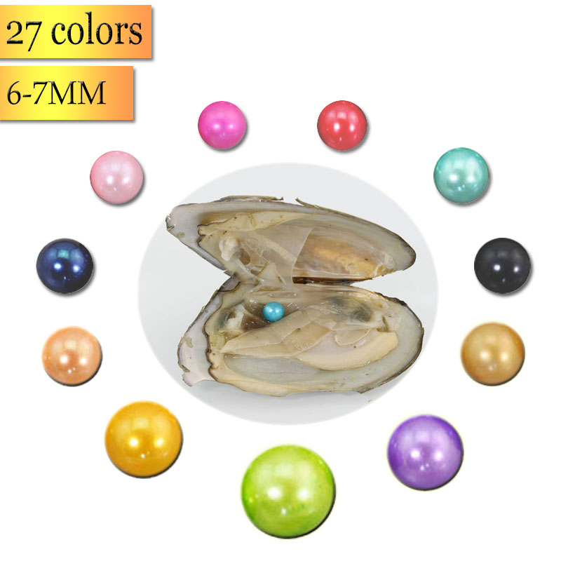 Natural Real Pearls Akoya Oyster Bulk 20pcs 6-7mm AAA Pearl Freshwater Cultured Love Wish Pearl Oyster Mussel Mixed ColorsABH673 ...