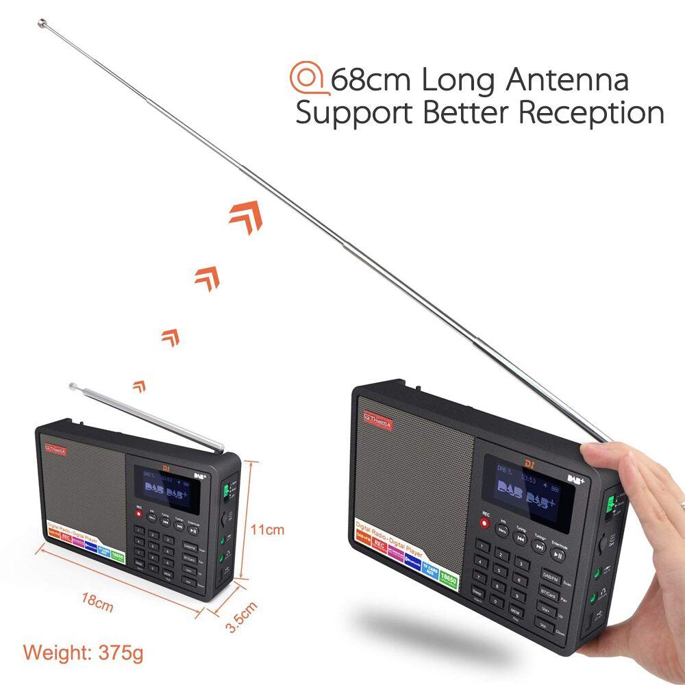 D1 портативный Bluetooth радио приемник DAB FM MP3 радио плеер tf карты радио Поддержка FM RDS название станции дисплей и будильник - 6