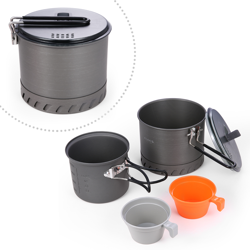 Image 2 - Portable Camping Cookware Kit 4Pcs for Hiking Backpacking 4 Piece Lightweight Durable Pot Cup Bowls Camping Stove-in Outdoor Stoves from Sports & Entertainment