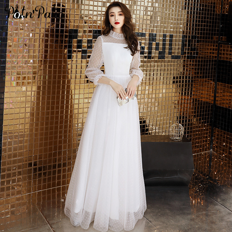 Sexy White Tulle Long   Evening     Dress   Vintage Polka-Dot Long-sleeve See Through   Evening   Party Gowns Elegant Formal Gown New Arriva