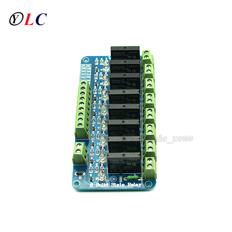 New 250V 2A 8 Channel OMRON SSR G3MB-202P Solid State Relay Module For Arduino MFBS 2017 new 250v 2a 8 channel omron ssr g3mb 202p solid state relay module for arduino mfbs