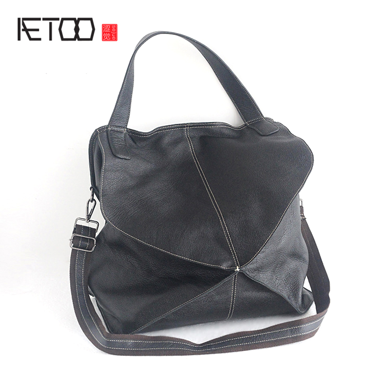AETOO The new European and American personalized women 's bag fashion simple first layer of sheepskin shoulder bag splicing soft leisure women s crossbody bag with splicing and color block design