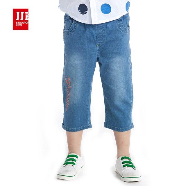 Мальчики шорты мода оранжевый письмо печати дети обрезанные брюки летние дети демин джинсы размер 4-11 лет бренд дети капри модные