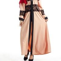 Women Long Sleeve Maxi Dress Robe Moroccan Caftan Islamic Muslim Turkish Arab Gown With Belt Clothes