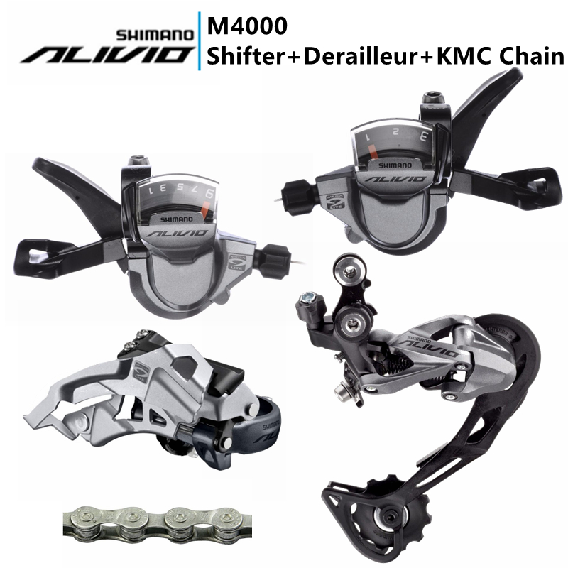 SHIMANO ALIVIO M4000 Trigger Shifter + Front Derailleurs + Rear Derailleur + KMC Z99 Chain,3x9 Speed 27s Groupset цена