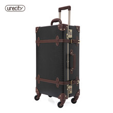2018 retro luggage Crocodile leather suitcase black and brown travel luggage spinner high quality free shipping fashion rolling(China)