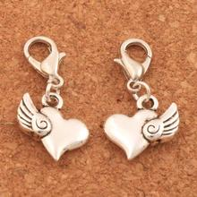 Swirl Angel Wings Heart Clasp European Lobster Trigger Clip On Charm Beads 14x28.7mm 100PCS Tibetan silver C905