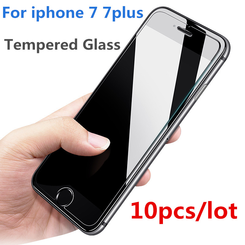 10 pçs/lote vidro temperado para iphone 7 plus protetor anti-knock premium capa dura de vidro para iphone7 plus filme protetor de tela
