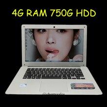 14 inch windows7/8/10 laptop Computer PC In-tel Celeron J1900 2.0GHZ Quad Core 4GB DDR3 750GB WIFI HDMI WEBCAM Slim Ultrabook